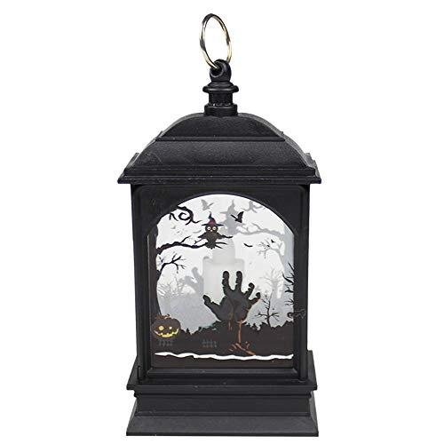 Bai Su - Luz de calabaza para Halloween, luz de calabaza, luz retro de calle, fantasma, festival, queroseno, lámpara de decoración colgante