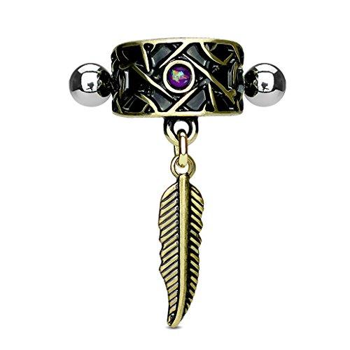 Kultpiercing - Ear Cuff Antik Gold mit Lila Opal Helix Piercing - Ohrklemme Chirurgenstahl mit Feder Anhänger - Tragus Cartilage Piercing-Stecker Barbell