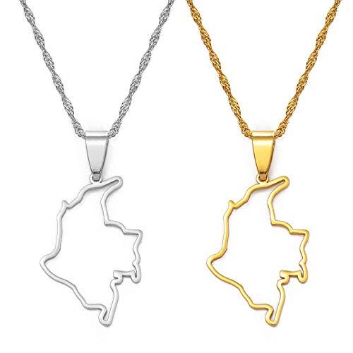 Collares Esquema Colombia Mapa Colgante Collar Color plata Mapa de color dorado Cadena nigeriana Joyería-Oro Color_45cm Cadena fina