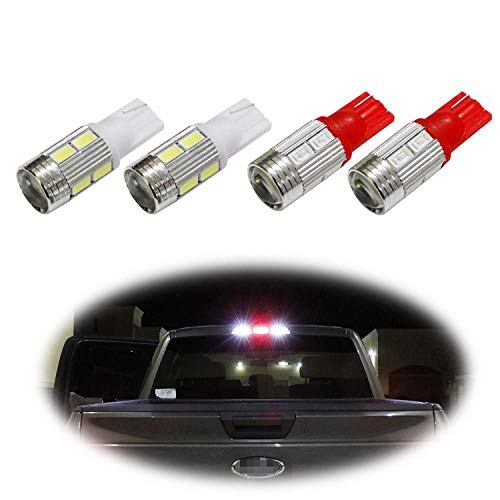 iJDMTOY (4) High Power 10-SMD 921 912 920 168 T10 LED Replacement Bulbs Compatible With Chevrolet Ford GMC Honda Nissan Toyota Truck 3rd Brake Lamp (Two Xenon White, and Two Brilliant Red)