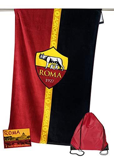 telo mare roma Tex family Telo Mare Sport Roma Misura CM.70X140 Originale A.S. Roma con Zaino TEXFAMILY PORTATELO e Cartolina Roma È