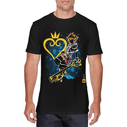 SOTTK Camisetas y Tops Hombre Polos y Camisas, Mens Classic Kingdom Hearts Tshirt Black