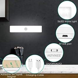 HOVNEE Lampe de Placard, Portable Rechargeable par USB, Aimanté Détecteur de Mouvement, Baladeuse de Secours, Veilleuse Enfant (S)