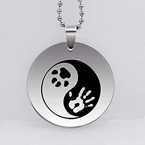niuziyanfa Co.,ltd Stainless Steel Yin Yang Paw Print Pendant Necklace Fashion Animal Pet Cat Dog Jewelry Gift for Women