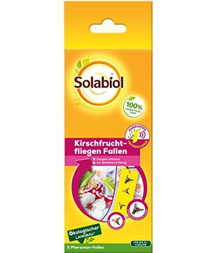 Solabiol Kirschfruchtfliegen Fallen, Pheromonfallen mit Lockstoff und Gelbtafel, ideal zur Befallsermittlung von Kirschfruchtfliege und Walnussfruchtfliege, frei von Insektiziden, 5 Stück