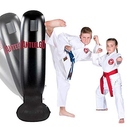 JanTeelGO Boxsack Kinder 160CM, Standboxsack für Sofortiges Zurückprallen zum Üben von Karate,Taekwondo und zur Entlastung von Pent Up Energy bei Kindern und Erwachsene (Schwarz-D)