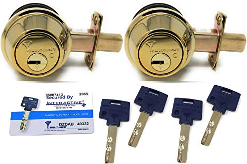 Mul-T-Lock Interactive+ Cronus High Security Grade 2 Single Cylinder Dead-Bolt w/Thumb Turn. Commercial or Residential Metal or Wood Doors (7) Bright Brass - Two Keyed Alike)