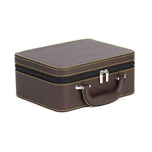 watch box Caja de Almacenamiento Profesional portátil de Viaje Multifuncional de Cuero Artificial Caja de Almacenamiento Desmontable de Doble Capa marrón Naranja