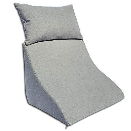 Formalind Lesekissen-Set für Bett und Sofa – Ergonomisch geformtes Keilkissen Plus kuscheliges Sofakissen zum Lesen, Fernsehen und Entspannen (hellgrau)
