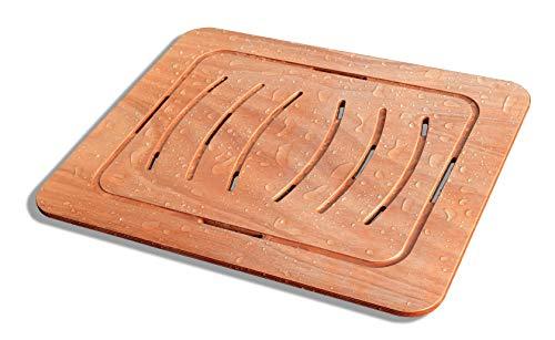 Castelmerlino Tarima para ducha en madera contrachapada marina Okumè 54x68 cm para platos 70x90 cm
