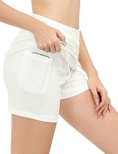 JACK SMITH Women's Yoga Athletic Skorts Fitness Short Skirts (L,Ivory)