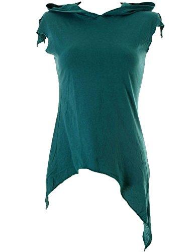 Vishes - Alternative Bekleidung –Pixie Zipfelshirt mit Zipfelkapuze aus Baumwolle türkis 38/40