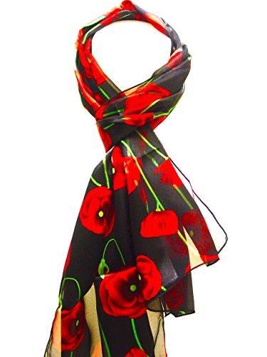 Beautiful Ladies Long Poppy Flower Print Satin Stripe Scarf Wrap Stole Neck Scarf (Bkred)
