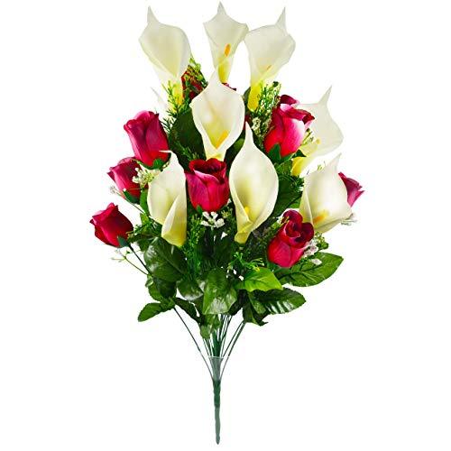 Herran Künstliche Blume 24 Stück/Set Künstliche Blumen Calla Lily Rose Bouquet Gefälschte Blumen Bouquet Tisch Hochzeitsdekoration Home Brautstrauß