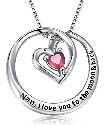 Women Necklace Gifts for Nana Silver' Nan,I Love You to the Moon and Back,Nan,Thank you for All you do Necklace Gifts for Nan,Nana,Grandmother (Necklace gifts for Nan_Red)