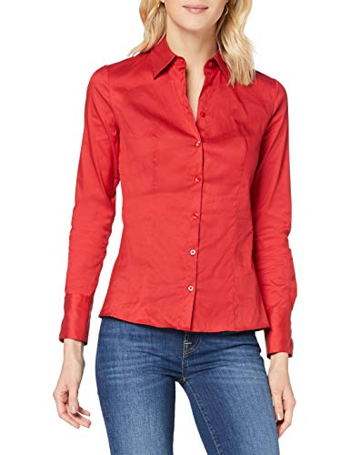 HUGO Damen The Fitted Shirt 10211515 01 Bluse, Medium Red619, 42