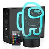 MANITED Night Light, 3D Illusion Led Lights Game Night Light 7 Colors with Touch Switch, Room Night Light Adjustable Brightness 16 Colors with Remote Control for Kids Bedroom Decoration (Black Base)