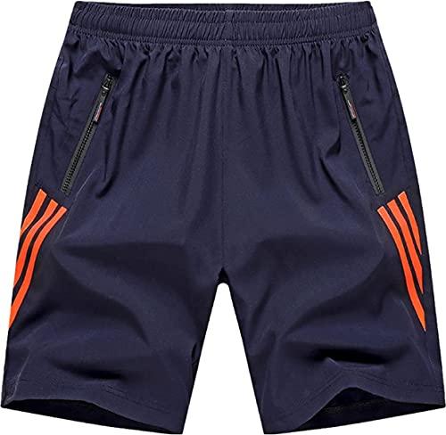 Pantalones cortos de costura a rayas de los hombres de moda más tamaño tendencia cómoda fitness