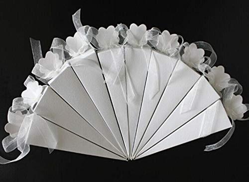 FLOWOW 50* bianco Forma di gelato cono Coni portariso scatola portaconfetti scatolina bomboniere segnaposto con Nastrino per matrimonio Nozze compleanno battesimo comunione nascita laurea Festa Natale