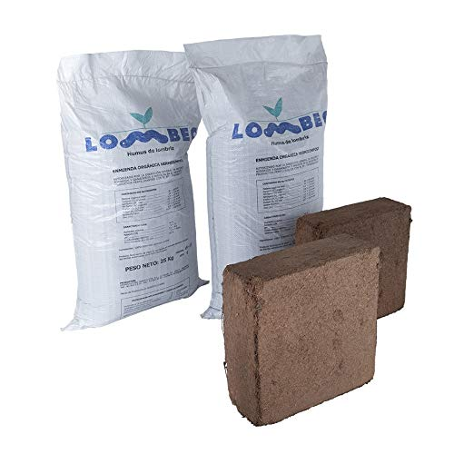 LOMBEC Pack sustrato óptimo para huerto Compuesto por Humus de lombriz y Fibra de Coco (60KG). Kit de abono Recomendado para mesas de Cultivo de 1500x750 (205 litros)
