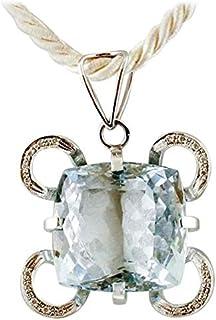 Pendente Oro Bianco, Topazio Blu e Diamanti