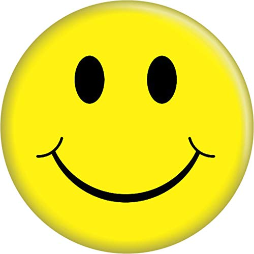 """Happy Face - Yellow - 2.25"""" Round Magnet (1)"""