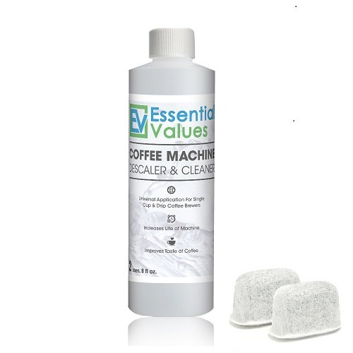 Essential Values Universal Descaling Solution | Bonus Two Filters, (2 Uses / 8 Fl Oz), Designed For Keurig, Nespresso, Delonghi and All Single Use Coffee and Espresso Machines - Proudly Made in USA
