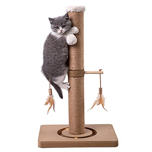 Price comparison product image MECOOL Cat Scratching Post Tall Kitten Scratcher Premium Scratch Posts with Tracking Interactive Toys and Dangling Ball for Indoor Cats Scratch Deterrent (Beige) (Large-27)