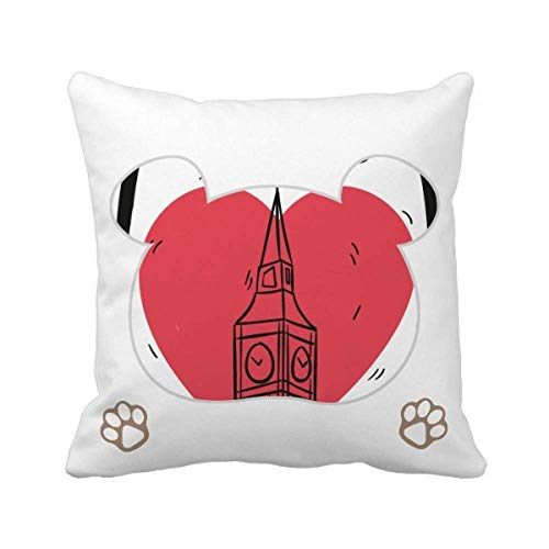 City London Britain Big Ben Love Bear - Funda cuadrada para cojín
