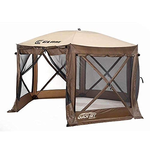 CLAM Quick-Set Pavilion 12.5 x 12.5 Foot Portable Pop-Up Outdoor Camping Gazebo Screen Tent 6 Sided Canopy Shelter w/ Ground Stakes & Carry Bag, Brown