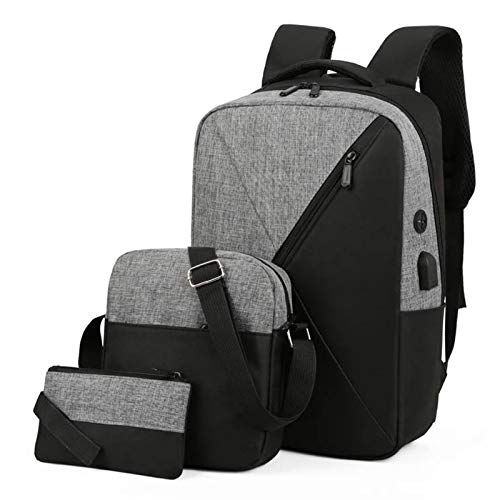 FDQNDXF Men's Business Backpack Set, Extra Large Anti-Theft Business Travel Water Resistant Fashion Casual Laptop Backpack 3 Piece Suit Bag,Gray