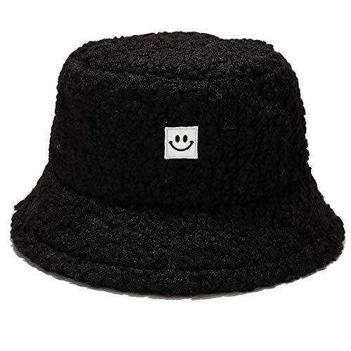 Umeepar, Cappello da pescatore da donna invernale in finto pelo di montone caldo - nero - Taglia unica