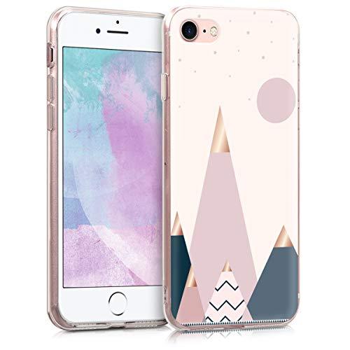 kwmobile Hülle kompatibel mit Apple iPhone 7/8 / SE (2020) - Handyhülle - Handy Case Glory Mix Berge Rosegold Blau Rosa