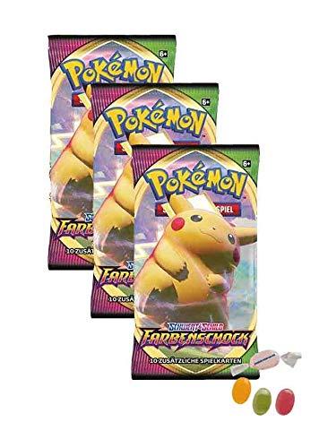 Pokemon Schwert & Schild - Farbenschock - 3 Booster - Deutsch zusätzlich 1 x Sticker-und-co Fruchtmix Bonbon