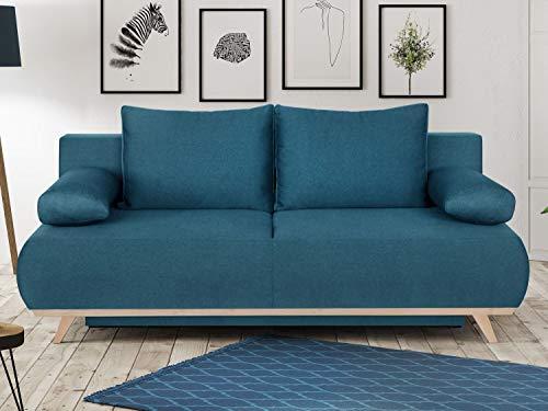 HOMIFAB Canapé Convertible 3 Places avec Coffre de Rangement en Tissu Bleu Canard - Collection Laria