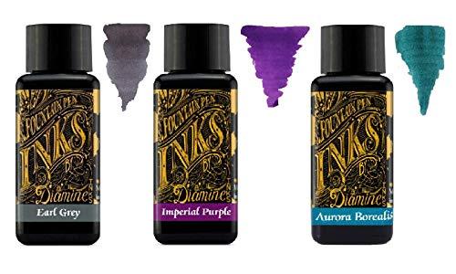 Diamine - 30ml Fountain Pen Ink - 3 Pack - Earl Grey & Imperial Purple & Aurora Borealis