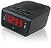 GPX C224B Dual Alarm Clock AM/FM Radio with Red LED Display (Black) (Renewed)