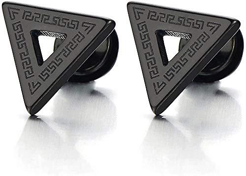 NC188 Pendientes de botón de triángulo Negro para Hombre de Acero Inoxidable con patrón de Llave Griega Tornillo Trasero 2 Piezas