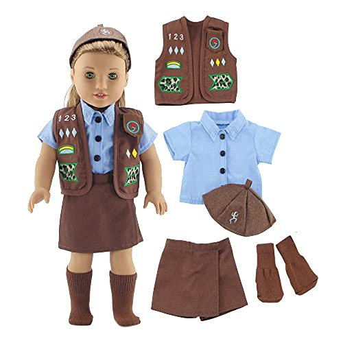 Emily Rose 18 Inch Doll Clothes for American Girl Dolls | Doll Brownie Girl Scout Modern 5 Piece Uniform Outfit with Skort! | Gift Boxed! | Fits 18' Our Generation and Journey Girls Dolls