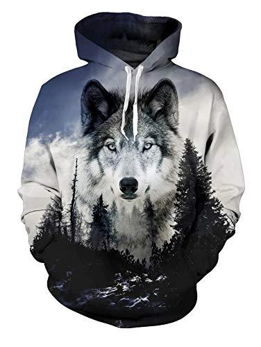 Unisex 3D Hoodies Funny Wald Wolf Gedruckt Pullover Mit Kapuze Langarm Grau Sweatshirt mit Känguru-Tasche Junior S