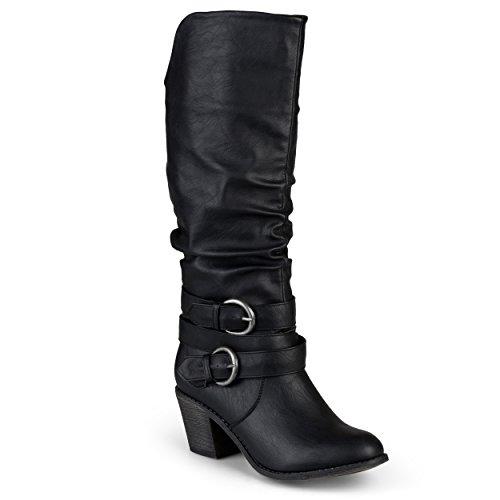 Journee Collection Women's Buckle Slouch High Heel Boots Black, 7.5 Regular US