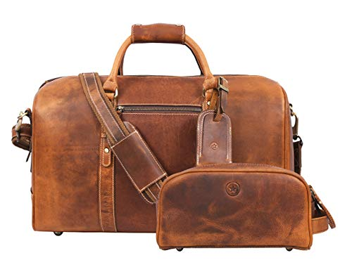 Leather Travel Duffle Bag   Gym Sports Bag Airplane Luggage Carry-On Bag   Gift for Father's Day By Aaron Leather (Tortilla)