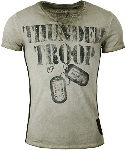 Key Largo Herren Custom Tee Military Green Vintageprints Thunder Troop, Größe:XXL