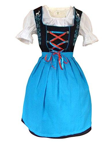 Damen-Dirndl Di20bs Mini Gr.46, 3 TLG. Trachten-Kleid blau-schwarz mit Dirndel-Bluse u. -Schürze für Oktober-Fest