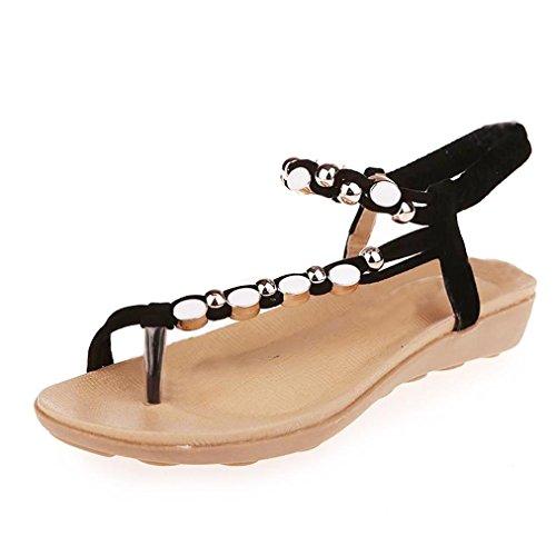 Paolian Flip Flop Bohême Sandales Plat Plateforme Antidérapant Femmes Roman Tongs Peep-Toe Mode Chaussures de Plage Chausson Pantoufles (38, Noir)