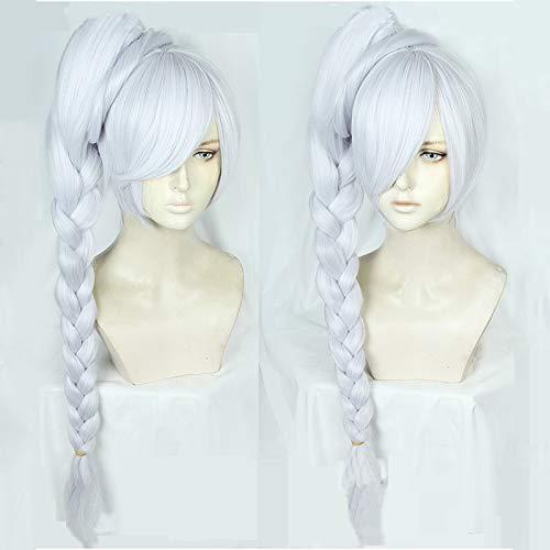 Pelucas de Cosplay Rwby Weiss Schnee, peluca de pelo sinttico de fibra larga resistente al calor plateada blanca con trenzas de cola de caballo desmontables