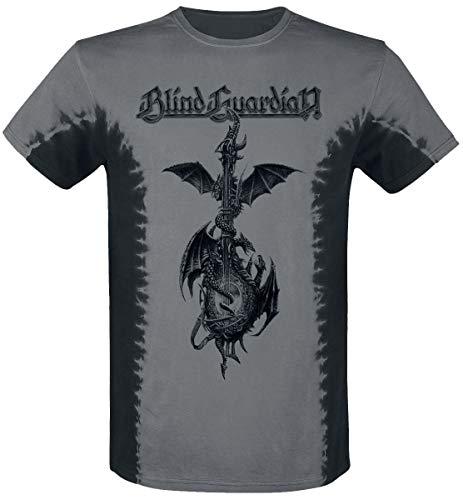 Blind Guardian Dragon Guitar Hombre Camiseta Aceituna L, 100% algodón, Regular