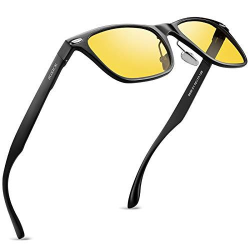 Soxick Night Driving Glasses Anti Glare Polarized Night Vision Sunglasses for men women Yellow (Black yellow)