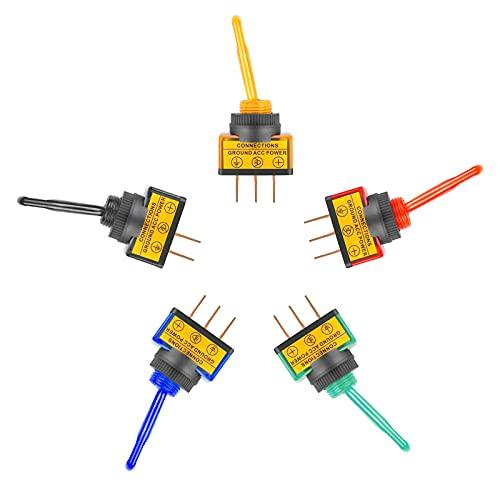 KARLLIU Interruptores de palanca, paquete de 5 interruptores de encendido y apagado Asw-13d Interruptores basculantes de 12 v Interruptor DPDT de larga duración Interruptor SPST para camiones y barcos