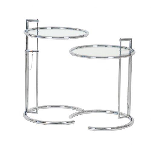 Eileen Gray 2X Adjustable Table E1027 ClassiCon/Beistelltisch/Kristallglas/DesignKlassiker von Klingenberg